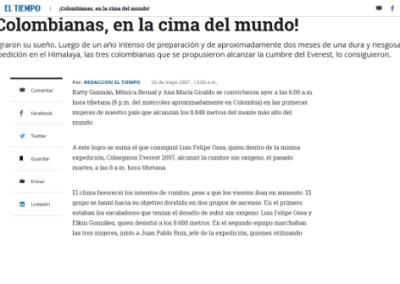 El Tiempo: ¡Colombianas, en la cima del mundo!