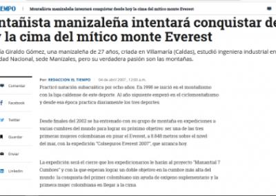 El Tiempo: Montañista manizaleña intentará conquistar desde hoy la cima del mítico monte Everest